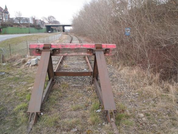 stootblok einde spoorlijn IJmuiden
