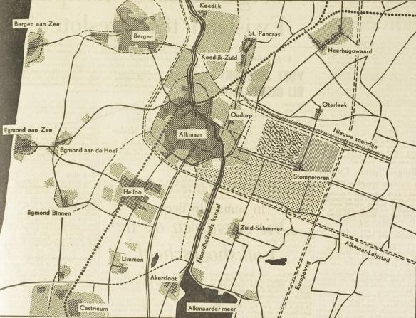 Een kaartje uit het Noordhollands Dagblad van december 1964, Het gearceerde deel links boven Stompetoren is een van de beoogde terreinen van de TH Alkmaar. Daarboven loopt een deel van de toen voorziene spoorlijn r=tussen Alkmaar en Lelystad.